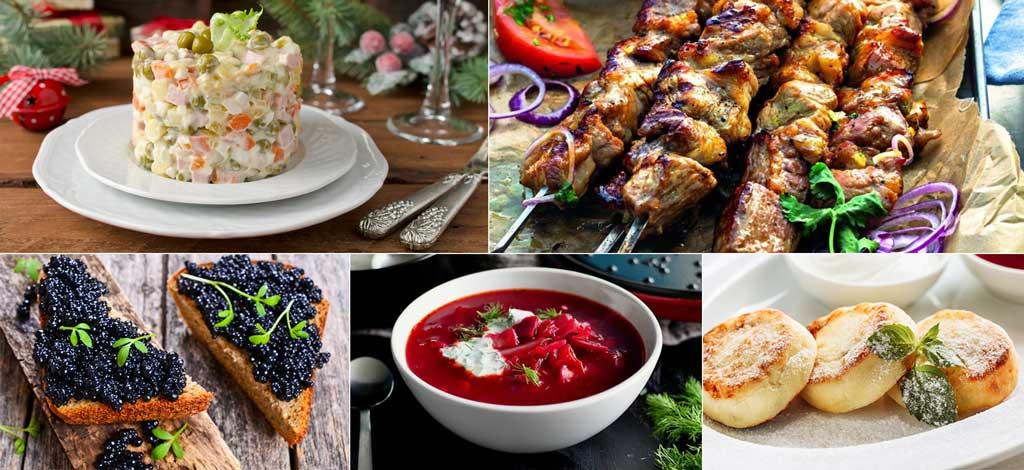 Piatti tipici russi: insalata russa, spiedini caucasici (shashlik), pane nero con caviale nero, borsh con panna acida, sirniki (fritelli di ricotta dolci)